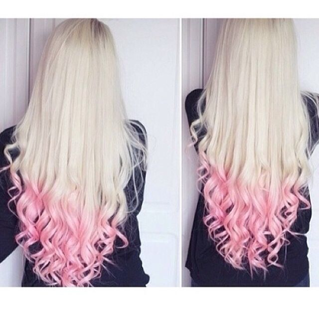 Long Blonde Hair With Curled Light Pink Tips Peach Hair Pink
