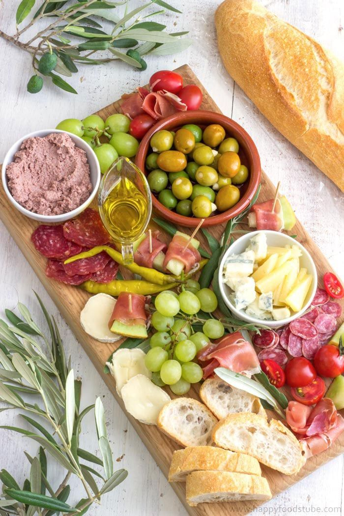 New Years Eve Dinner Party Ideas Part - 24: Mediterranean Antipasti Platter - New Years Eve Party Food Ideas |  Happyfoodstube.com
