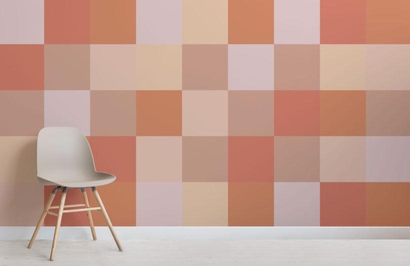 Papier peint Pixels Grands Carrés Terracotta