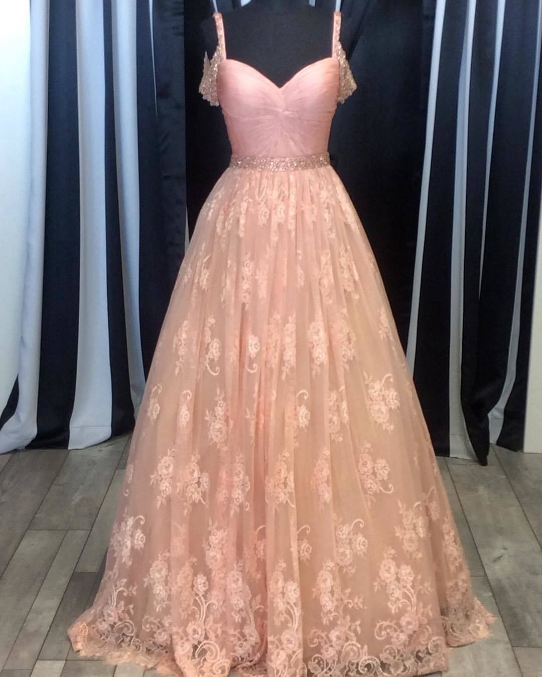 509b8dca21c Bush Pink Lace Ball Gowns Prom Dress 2017