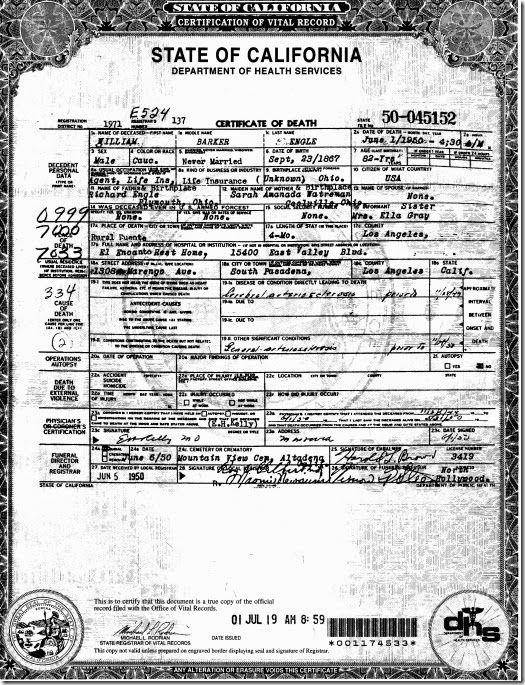 Charles Albert Engleu0027s Death Certificate Blog - Janau0027s Genealogy - copy fresno california birth certificates