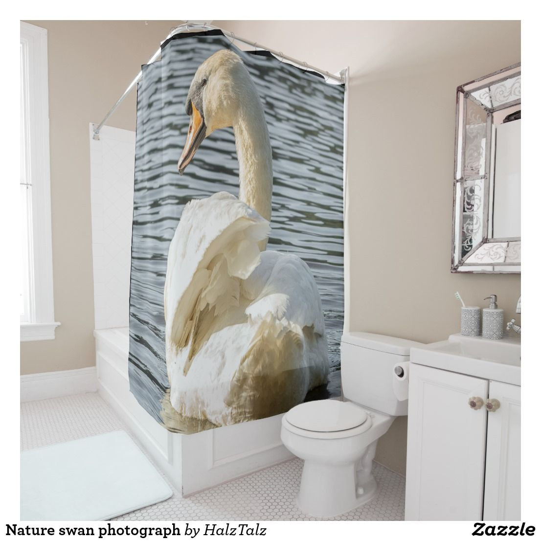 Nature Swan Photograph Shower Curtain Zazzle Co Uk Shower Curtains Bathroom Accessories