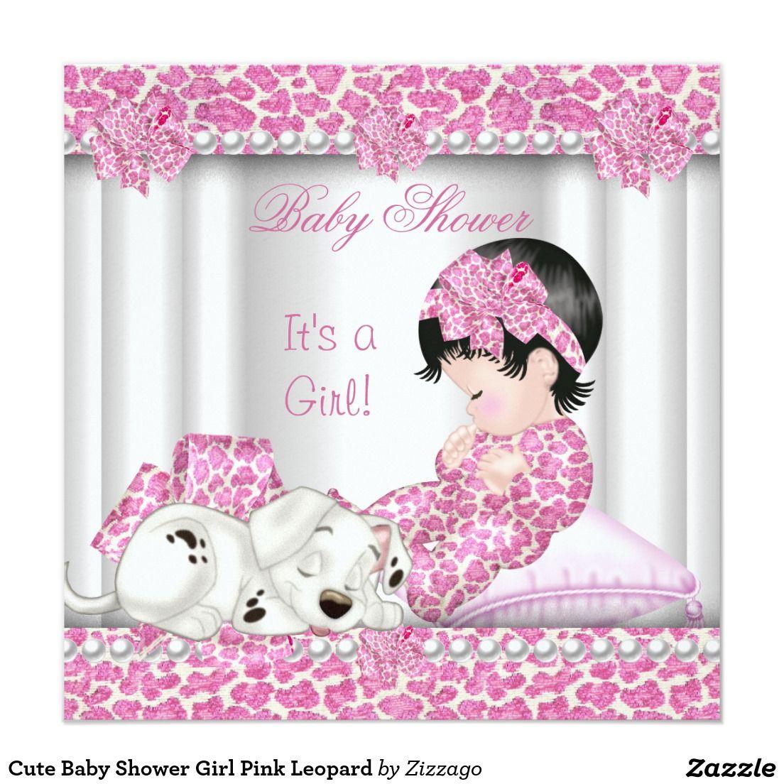 Cute Baby Shower Girl Pink Leopard Invitation Zazzle Com In 2020 Baby Shower Princess Pink Girl Pink Leopard