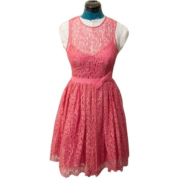 Pre-owned Tracy Reese Lace Fit Flare Frock In Watermelon Size 6 Dress ($100) ❤ liked on Polyvore featuring dresses, pink, pink red dress, pre owned dresses, lacy red dress, fit flare dress and pink dress
