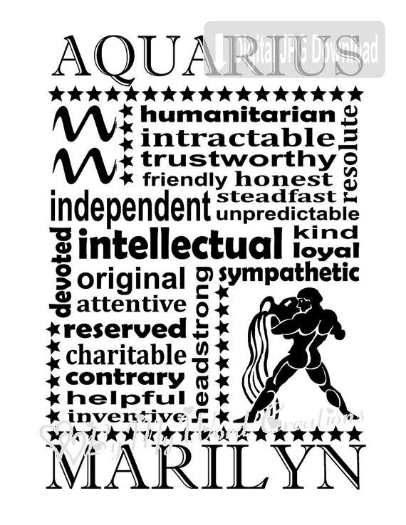 Aquarius Word Art Zodiac Art Horoscope Word Art Astrology