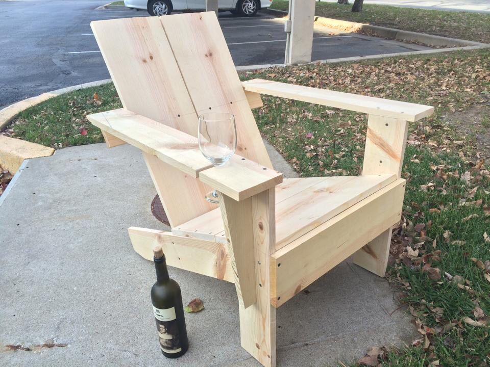 Diy Homemade Wooden Chair With Built In Wine Glass Holder