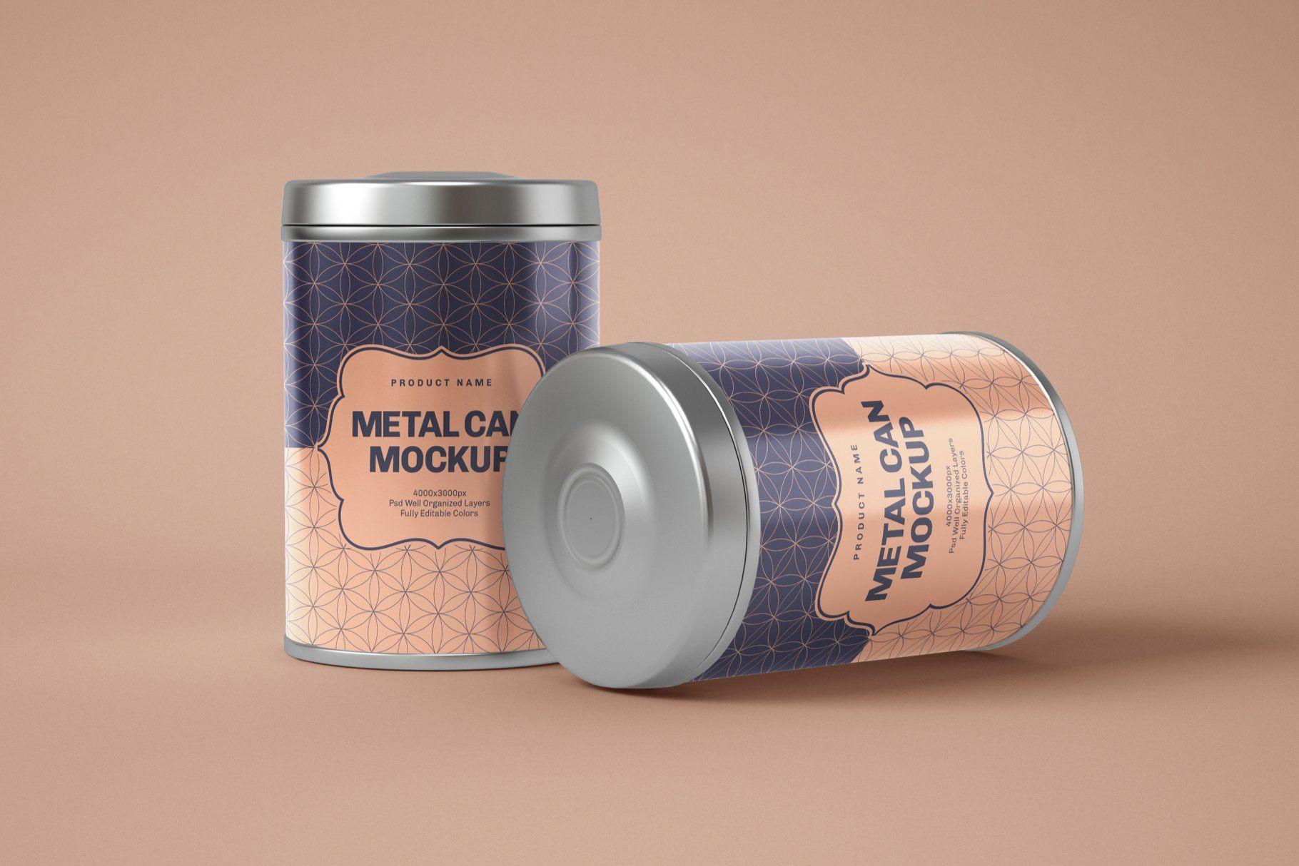 Download Glossy Metal Tin Can Box Mockup Set In 2020 Box Mockup Metal Tins Box Packaging Design PSD Mockup Templates