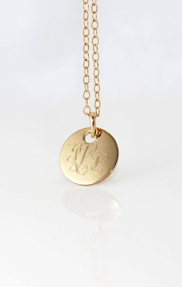 12 inch monogrammed gold pendant necklace 14k filled small 12 inch monogrammed gold pendant necklace 14k filled small initial charm gift mozeypictures Images