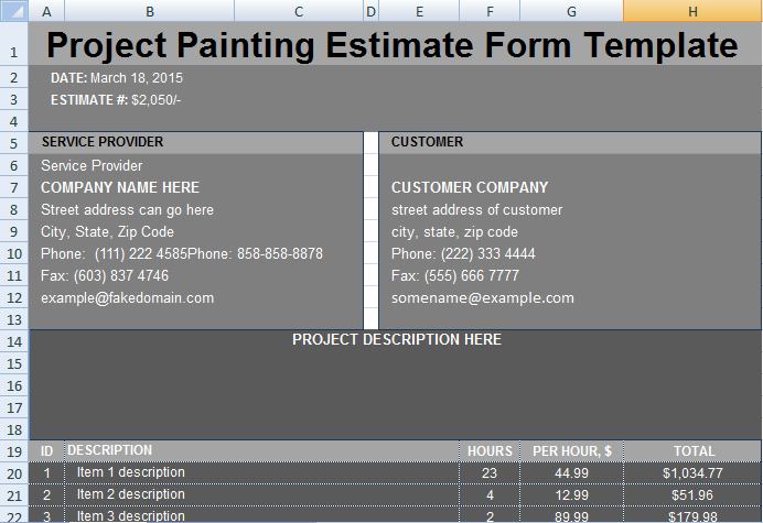painting estimate format