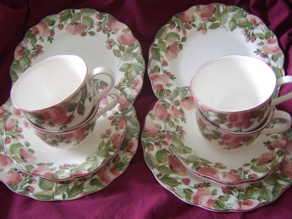 Moss Rose Dishes Made In Japan | Japan Nikko Tableware Desert Set Of 12 Pc  By