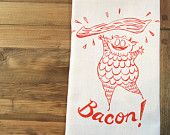 Bacon Monster Tea Towel from fisk and fern on etsy