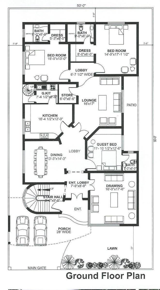 Pin By Asif Jamil On Grid Plan Single Storey House Plans Basement House Plans Building Plans House