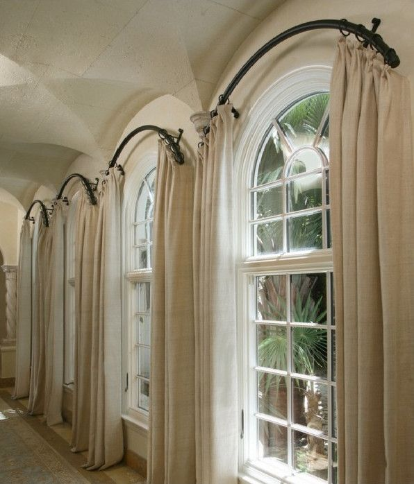 Arched window curtain rod home projects pinterest for Window treatment for oval window