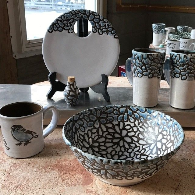 Decorative Bowls For Coffee Table New White And Blue Potterylockwood Ceramics  Cheese Stone