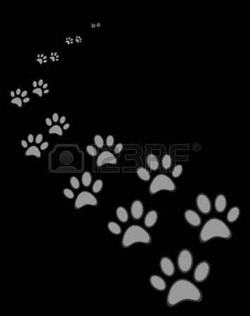 Chien ou d un chat mignon empreinte de patte sur fond noir Banque d'images