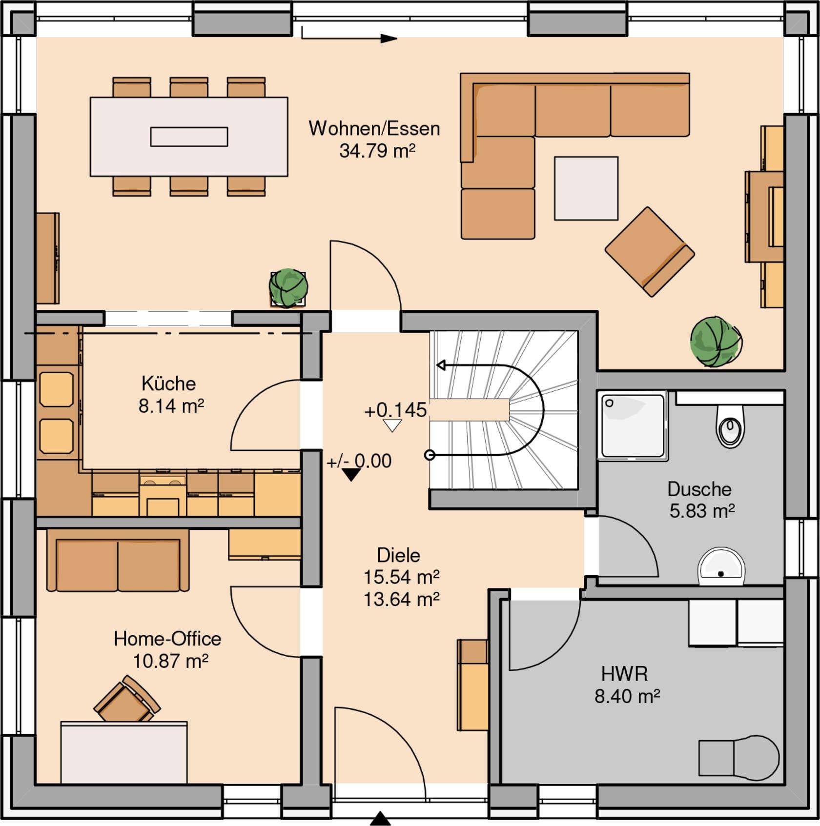 massivhaus kern haus stadtvilla centro grundriss erdgeschoss grundrisse pinterest nice. Black Bedroom Furniture Sets. Home Design Ideas