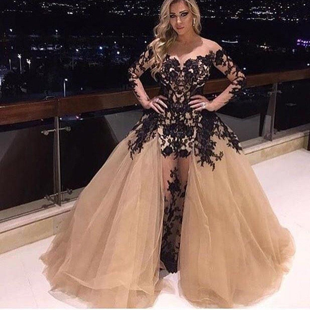Off shoulder black lace see through long tulle prom dresses bg