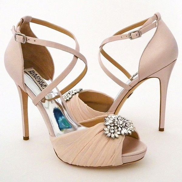 Badgely Mischka Cacique Pink Wedding Shoes ~ Badgley Mischka Wedding Shoes. Soft  pink bridal shoes
