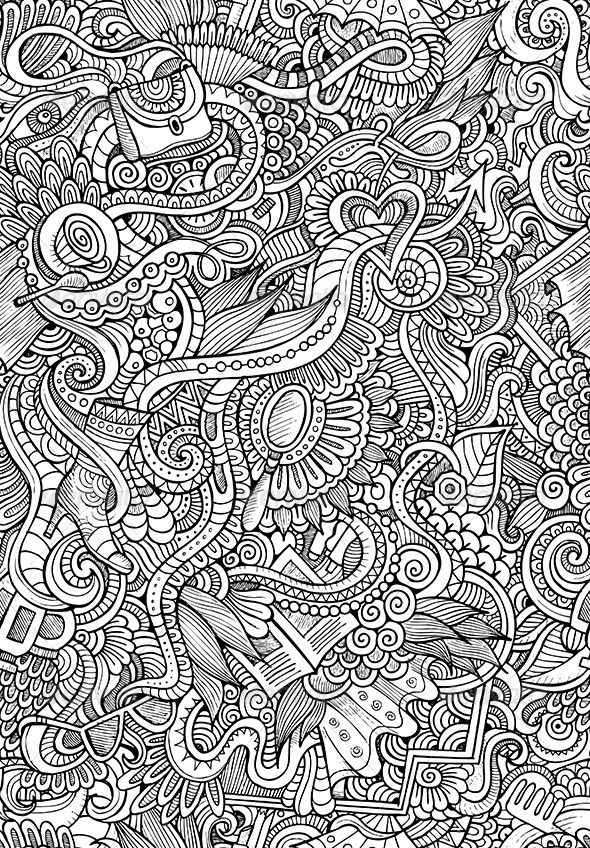 Doodles Seamless Fashion Pattern - Decorative Vectors ...