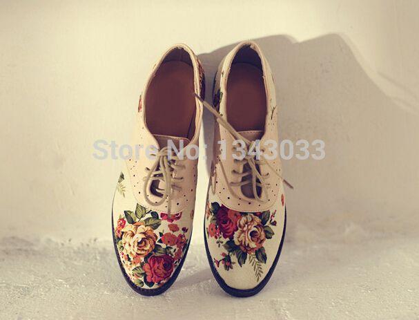 Aliexpress.com: Comprar Marca nueva primavera y otoño moda nuevo retro impresión Floral zapatos oxford women de la lona + la PU zapatos planos ocasionales de zapatos de caja de zapatos fiable proveedores en luxury666