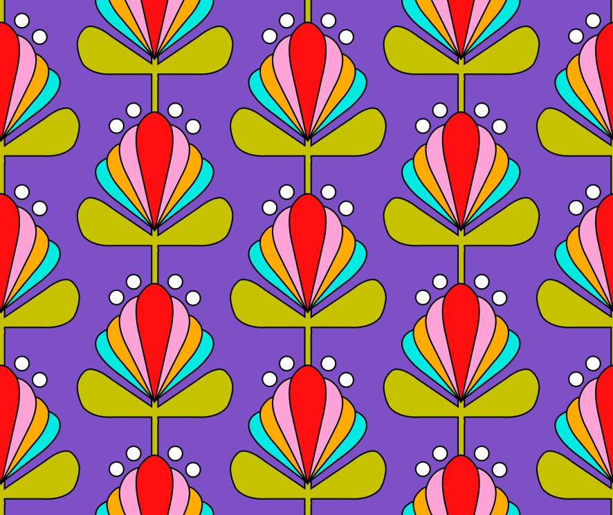 Kinder Mädchen Stoff Stoffdesign Illustration Retro Blümchen Blumen ...