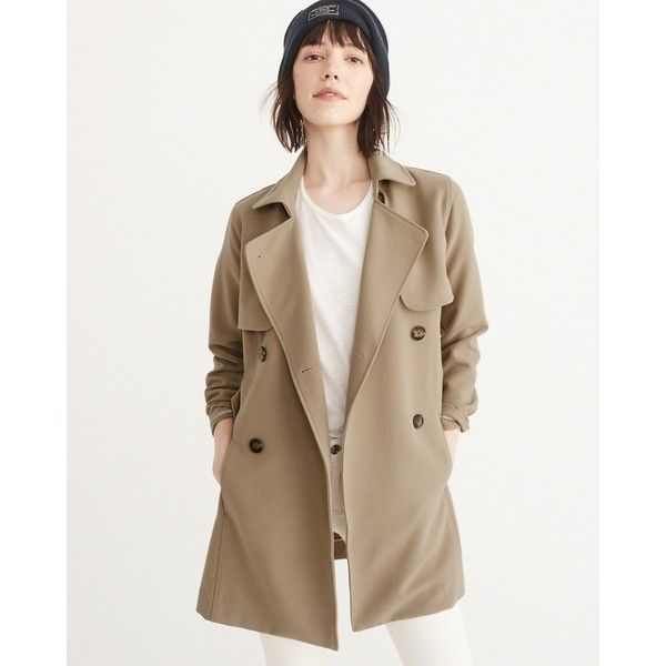 superior quality cute cheap fashion styles Abercrombie & Fitch Drapey Trench Coat ($84) via Polyvore ...