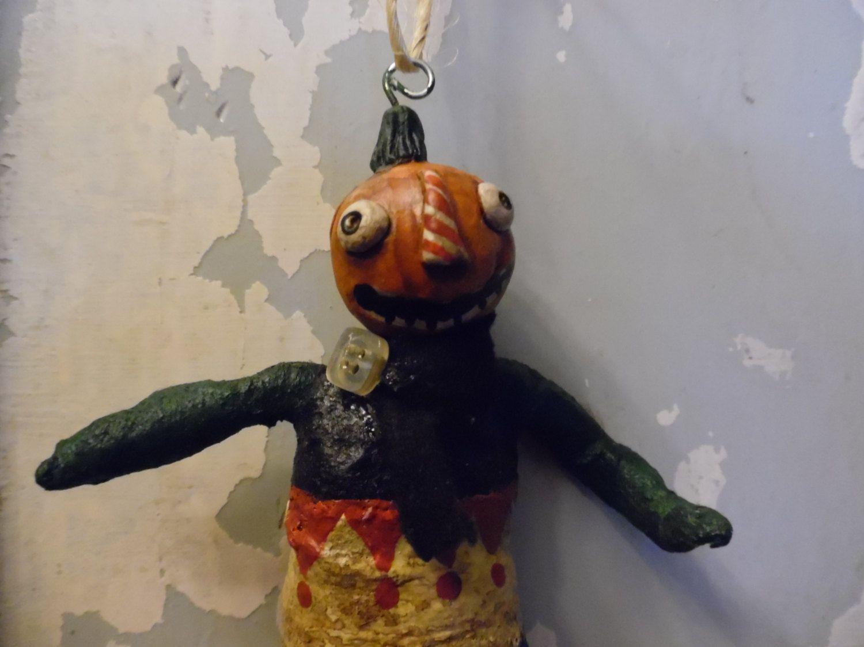 vintage inspired primitive pumpkin man halloween ornament ...