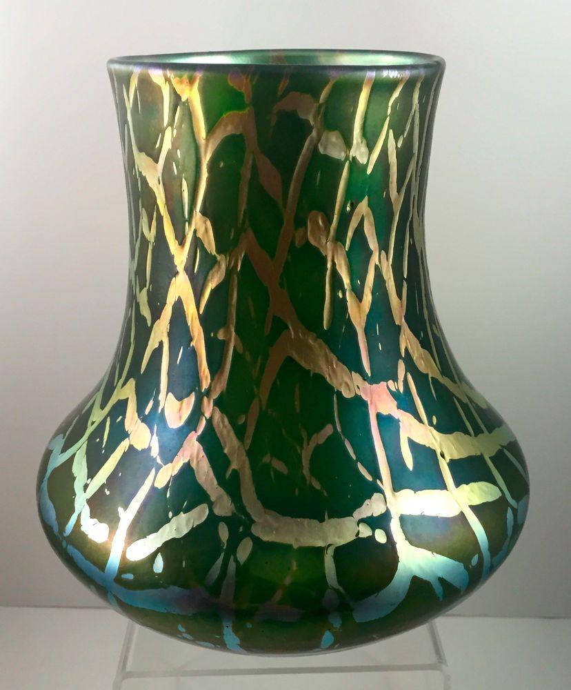Bohemian iridescent art nouveau glass vase large form ca 1900 bohemian iridescent art nouveau glass vase large form ca 1900 loetz era reviewsmspy