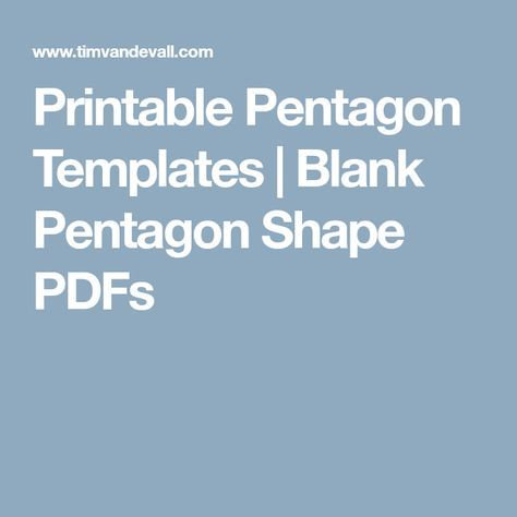 Printable Pentagon Templates Blank Pentagon Shape PDFs paper pieced