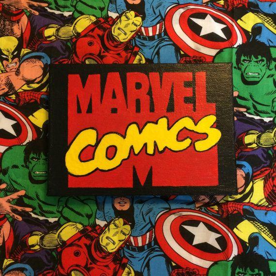 Marvel Comics Logo Canvas Painting By Nerdyshop On Etsy