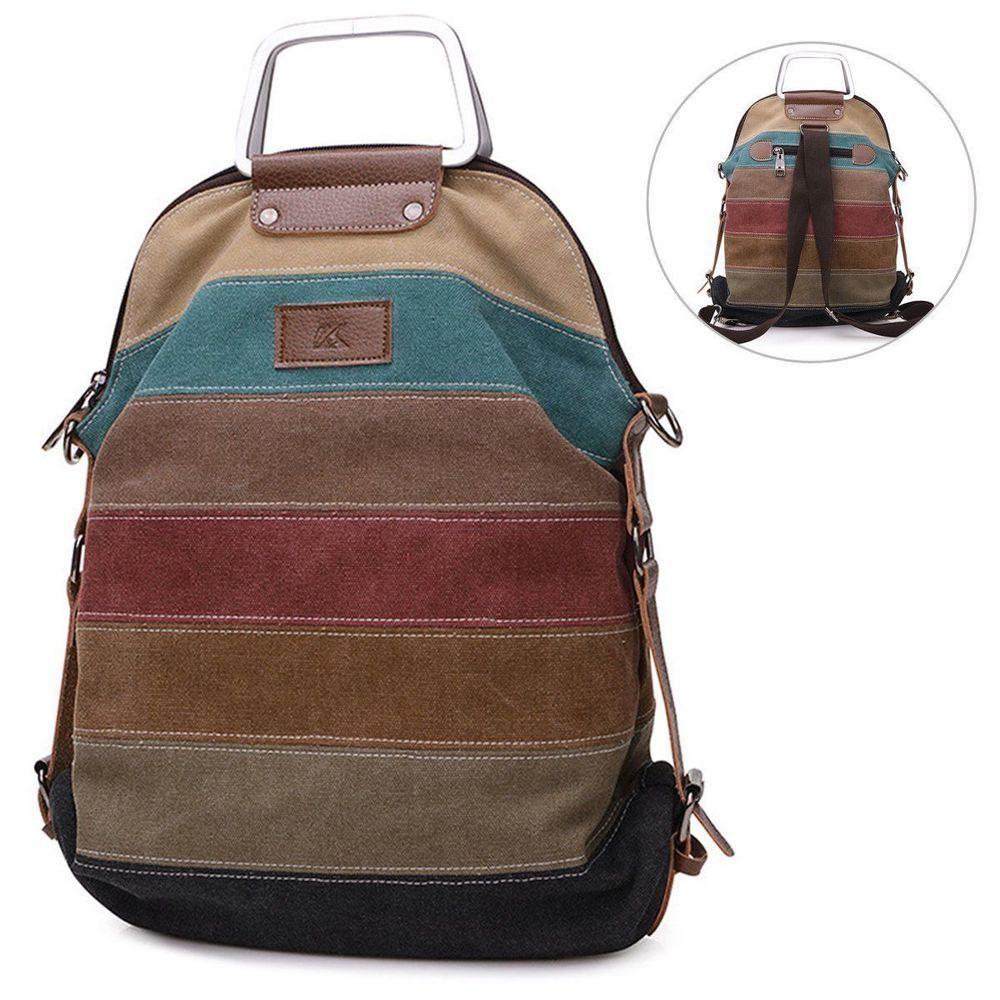 Multifunction Canvas Handbag Shoulder Bag Crossbody Messenger Bag Backpack  New