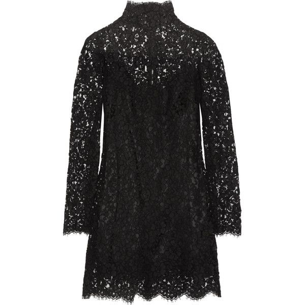 Dolce & Gabbana Cotton-blend guipure lace mini dress (€1.595) ❤ liked on Polyvore featuring dresses, party dresses, black, short black dresses, black mini dress, black slip, long sleeve black cocktail dress and black cocktail dresses