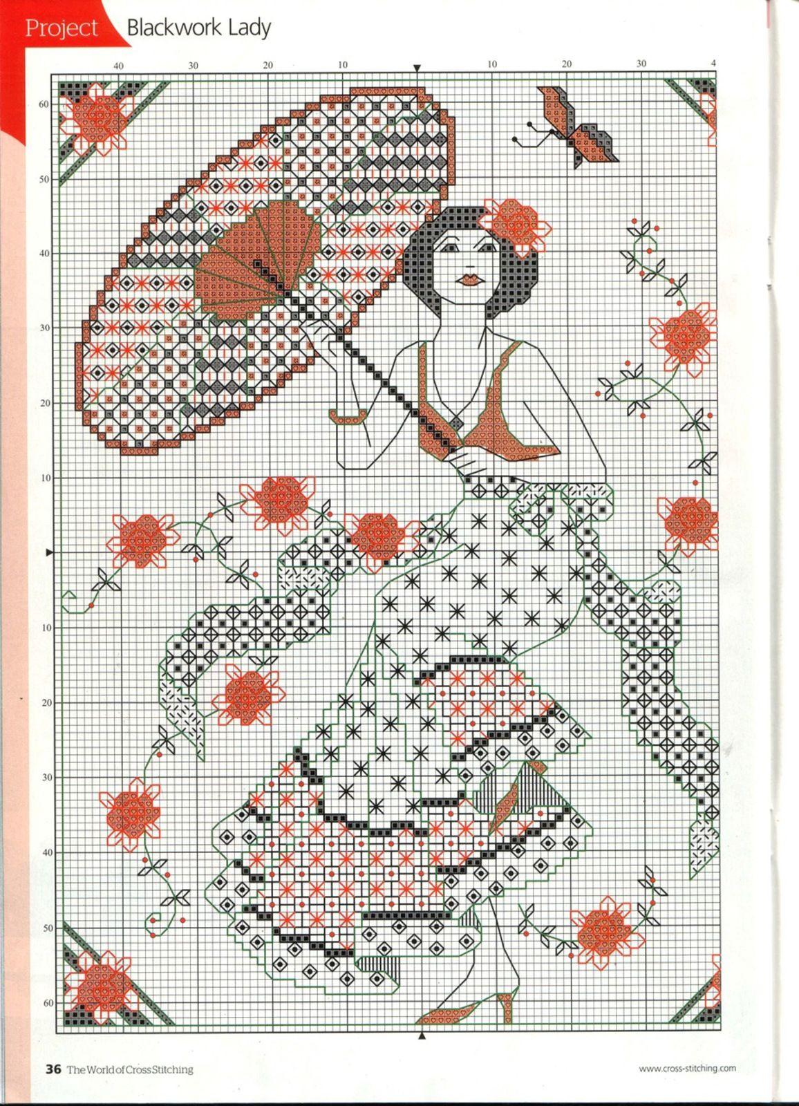 Lovely Blackwork Lady | Cross Stitch | Pinterest