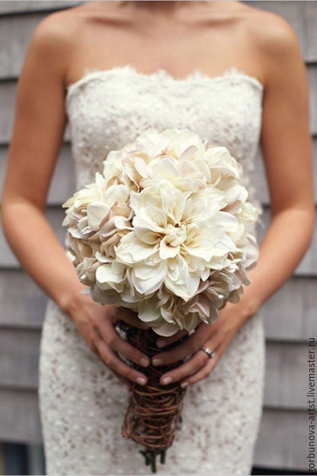 Свадебный букет под бежевое платье