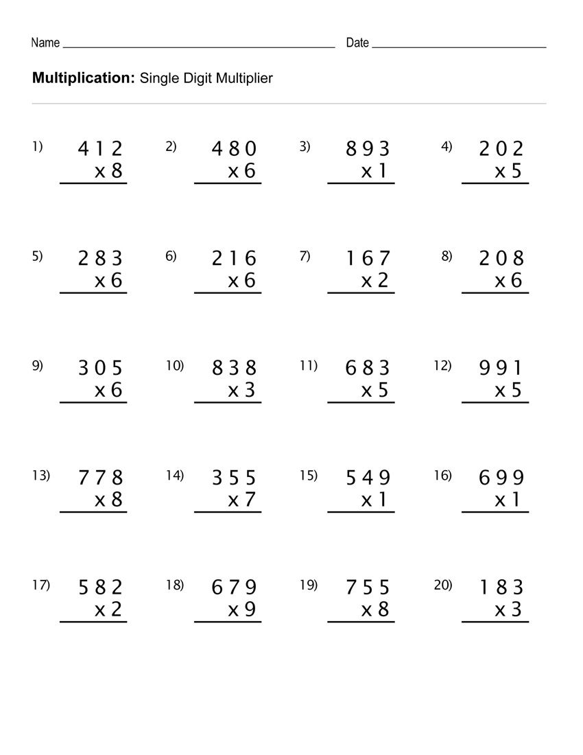 4th Grade Multiplication Worksheets - Best Coloring Pages For Kids   4th  grade math worksheets [ 1100 x 850 Pixel ]