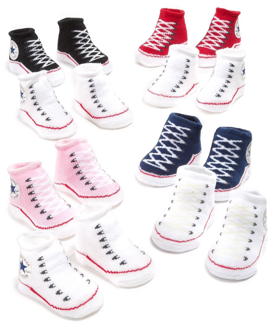 Navy//White Converse Chuck Taylor All Star Baby Sock Booties 2 Pack 0-6 Months