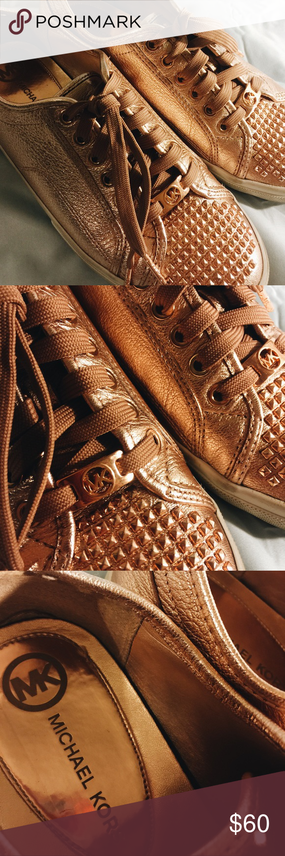 MICHAEL KORS x LO TOP SNEAKERS Beautiful rose gold MK sneakers. Comfy enough for every day! Michael Kors Shoes Sneakers