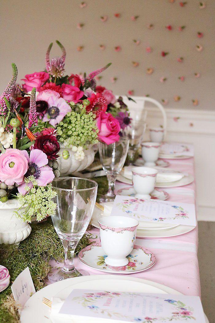 Indoor Garden Tea Party for a Shower Tea party table