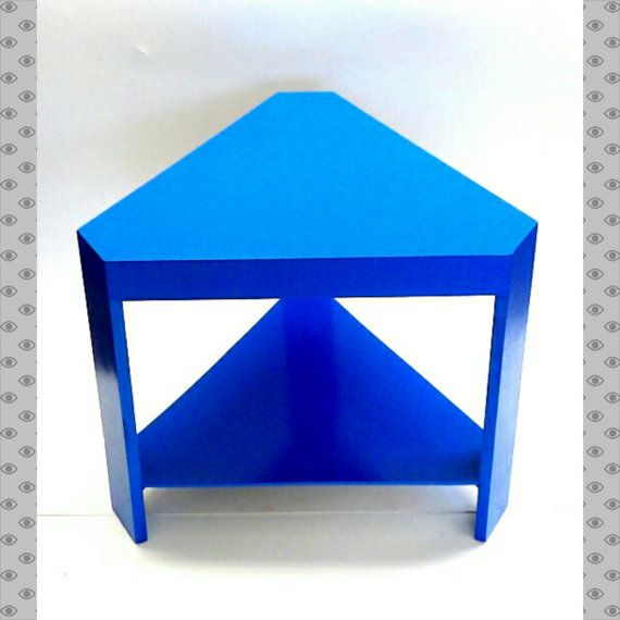 blue triangle end table cobalt blue side table shield painted