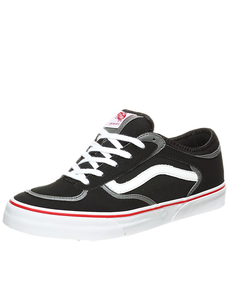 vans rowley pro black white red