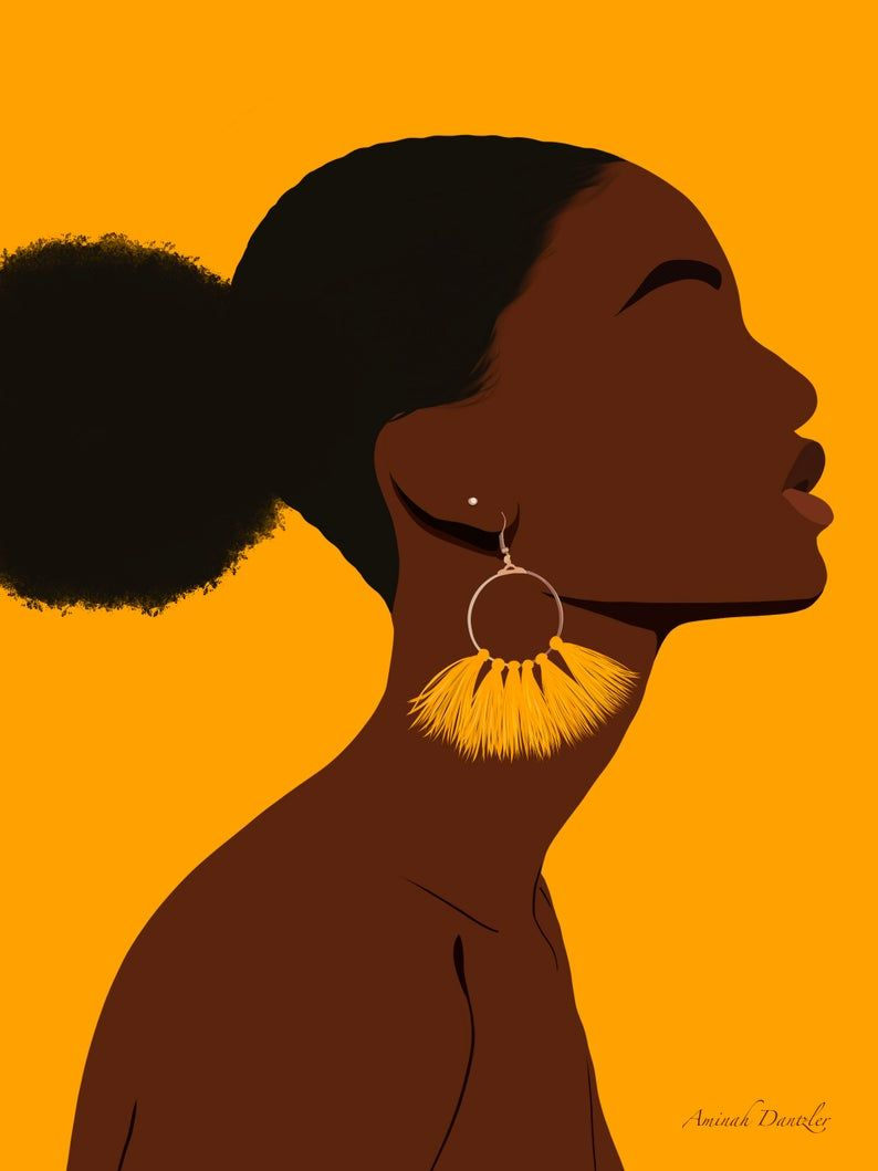 With afro girl art black African American