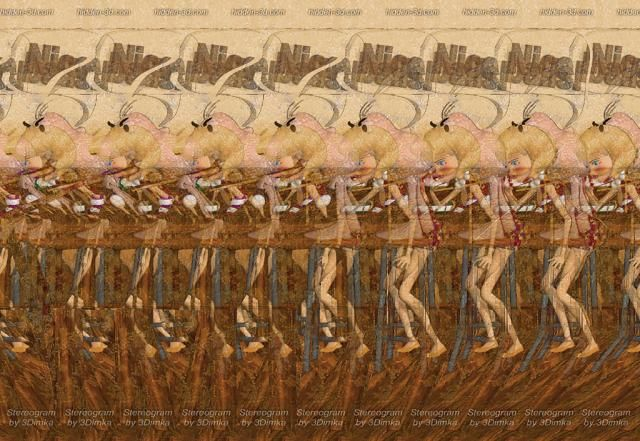 stereogram images This one is a weird little creature standing on a high stool looking into a sink? while a woman creeps up behind it. Really.