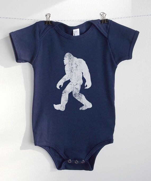 Long Sleeve Cotton Bodysuit for Baby Boys and Girls Cute Retro Style Bigfoot Silhouette Playsuit