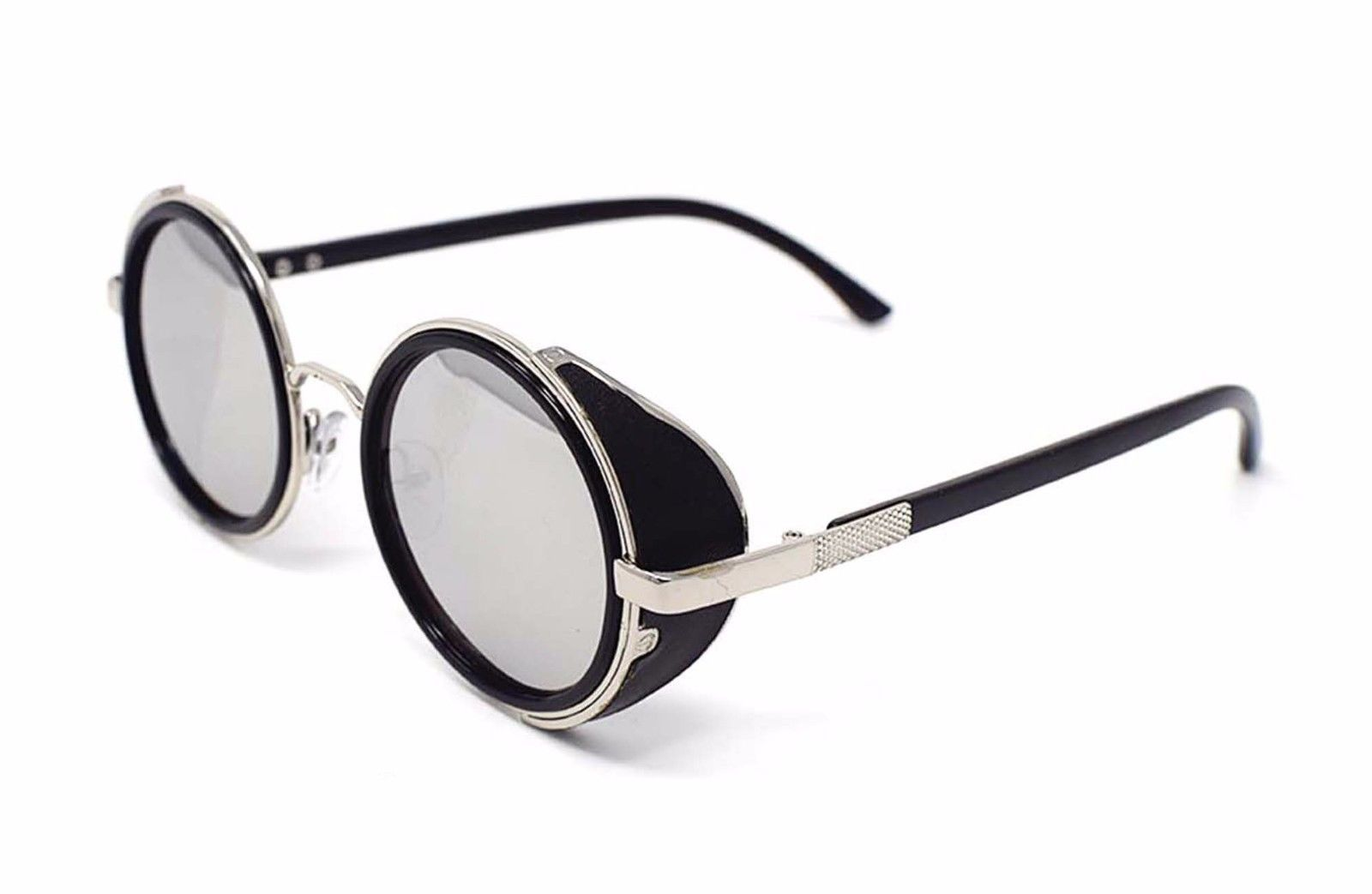 5a1a732fb143 Silver With Mirror Lenses Steampunk Sunglasses 50's Retro Vintage Style  Blinders