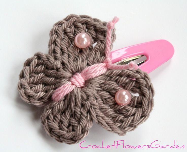 Barrette de papillon de crochet | Pinzas Para El Cabello | Pinterest ...
