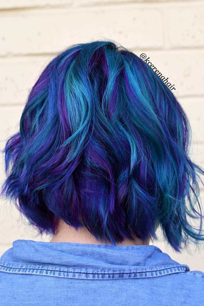 24 Blue And Purple Hair Looks That Will Amaze You Short Hair Color Galaxy Hair Color Hair Color Purple