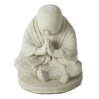 My Spirit Garden Volcanic Ash Bowing Monk Statue Color: White Silica ...