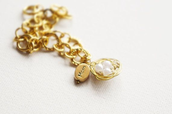 Mother Bird // Mothers Day bracelet with nest of by AChildofWhimsy, $14.00
