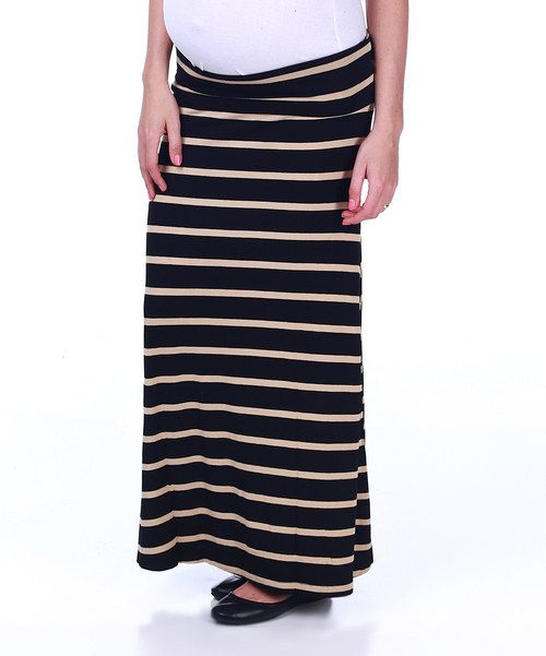 Take a look at the PinkBlush Maternity Black & Beige Stripe Maternity Maxi Skirt on #zulily today!