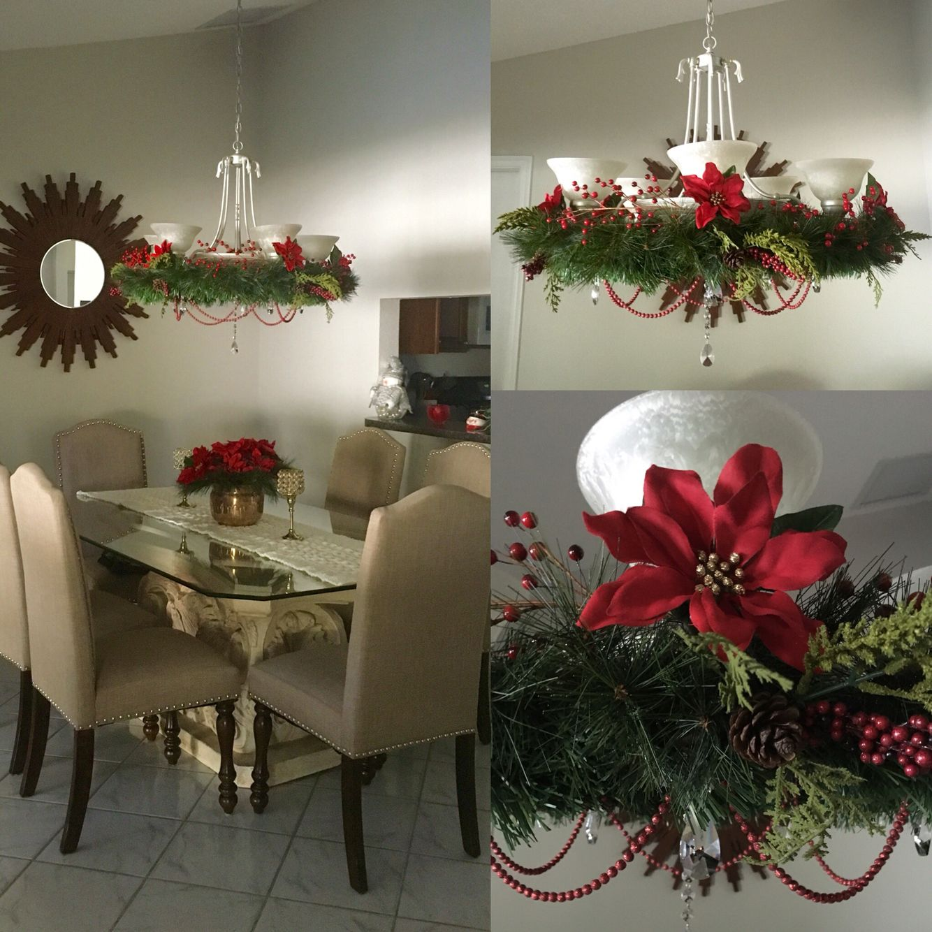 Holiday chandelier! Made with hulahoop and green garland